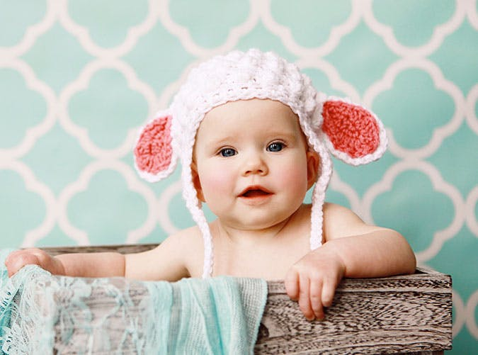 Cute baby in knitted hat