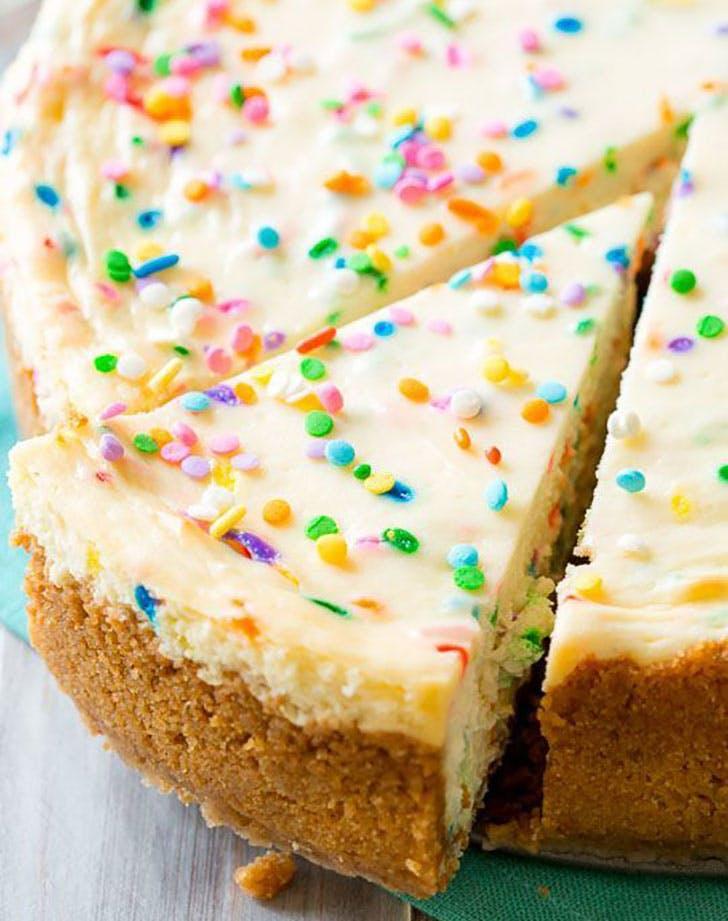 Funfetti Cheesecake on sallysbakingaddiction.com