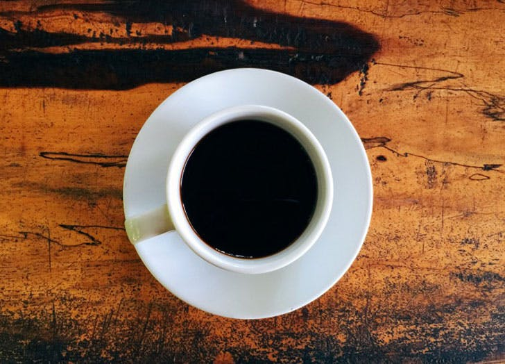 Overhead shot of black hot drink