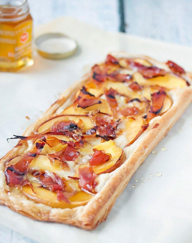 Prosciutto and Peach tart