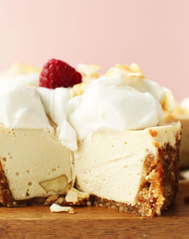 White Chocolate Macadamia Nut cheesecake minimalist baker