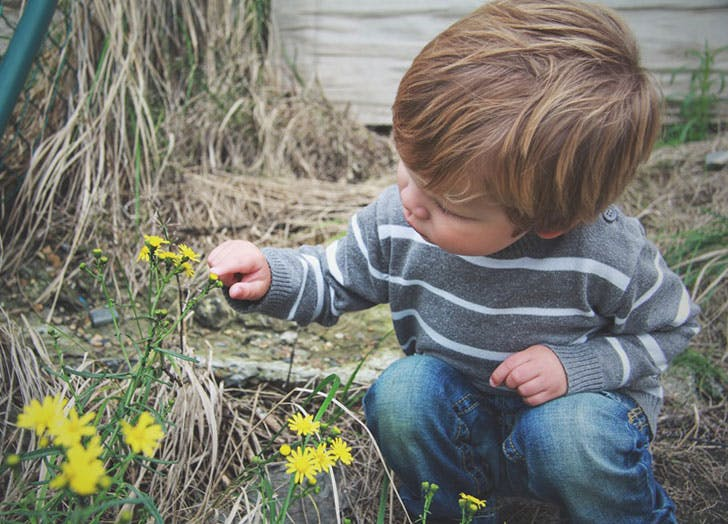 Young boy playing with flower