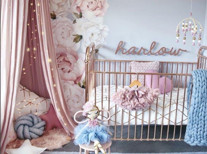 baby nursery trends metallic rose gold