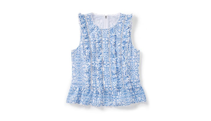 blue and white peplum top