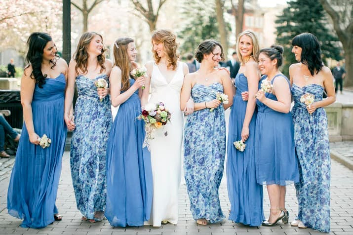 blue options mismatched bridesmaid dresses