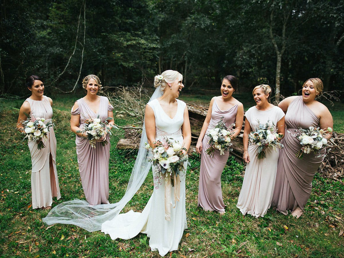 How to coordinate mismatched bridesmaids dresses purewow pick the brand and let them choose the style ombrellifo Gallery