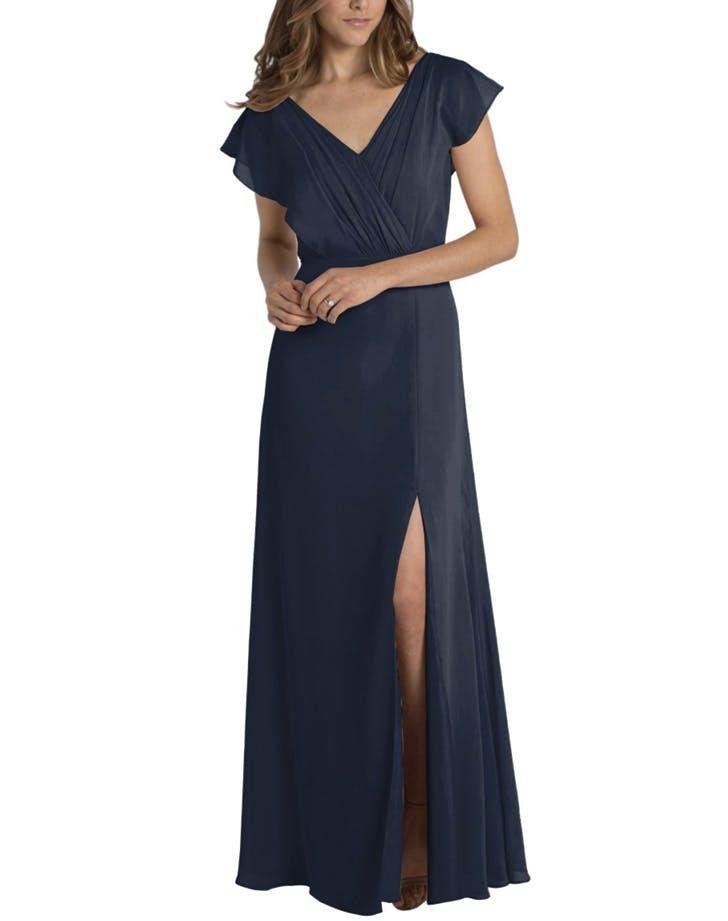 bridesmaid dress flutter sleeve