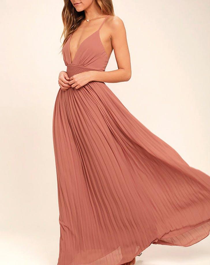 bridesmaid dress pleated