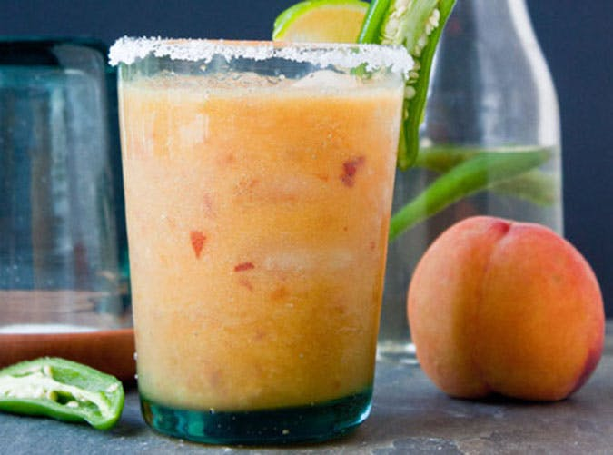 brunch cocktails peach margarita