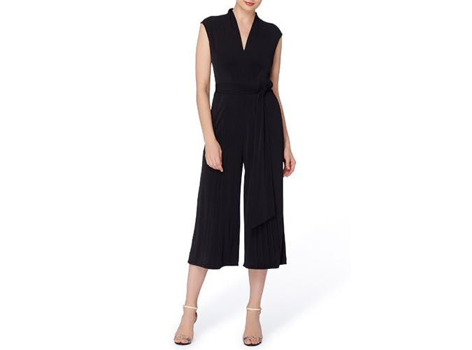 catherine malandrino black pleated jumpsuit