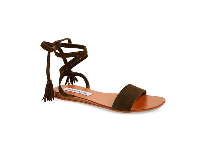 dark green suede sandals