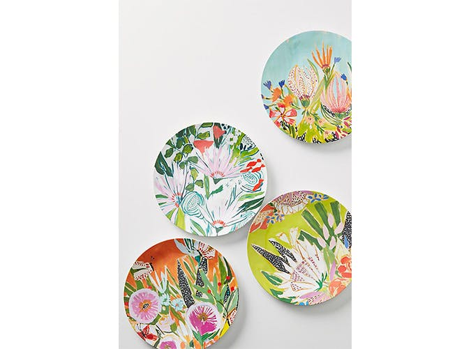 floral plastic plates