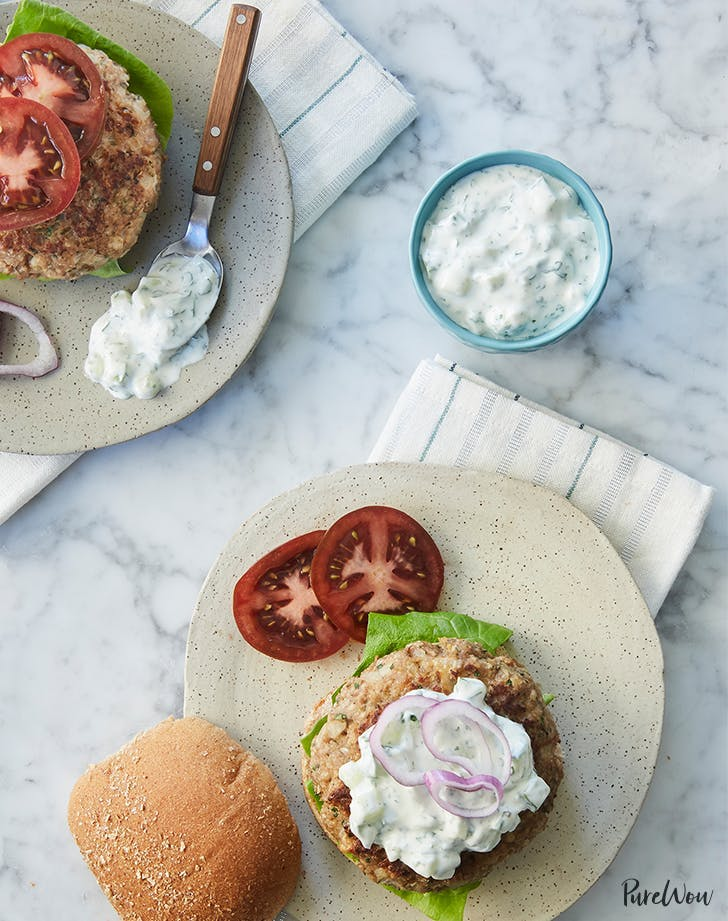 13 greek inspired dinner recipes to try purewow greek turkey burgers with tzatziki sauce forumfinder Image collections