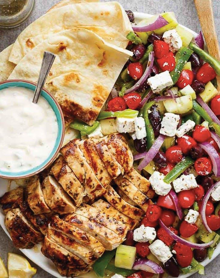 13 greek inspired dinner recipes to try purewow greek lemon garlic chicken salad forumfinder Gallery