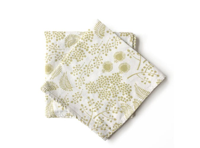 green floral napkin