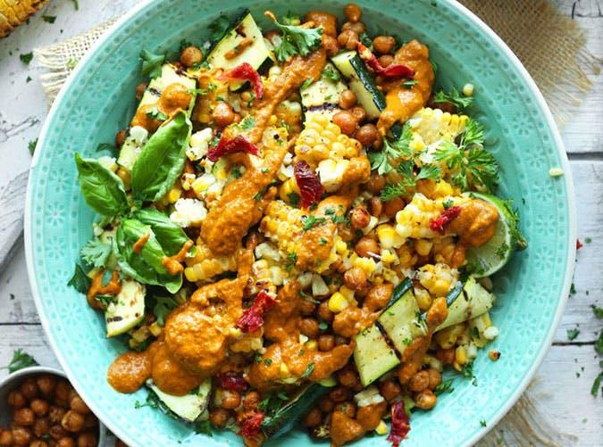 june dinners corn zucchini salad