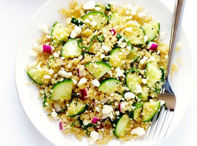 june dinners cucumber quinoa salad