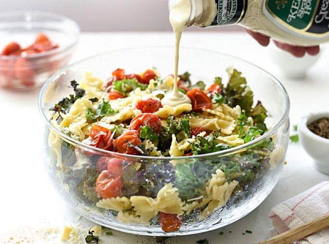 june dinners kale caesar pasta salad