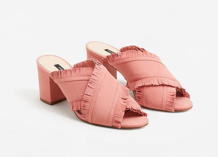 mango fringe pink mules NY