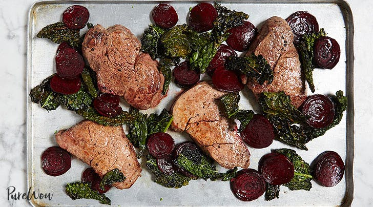 One-Pan Steak with Beets and Crispy Kale