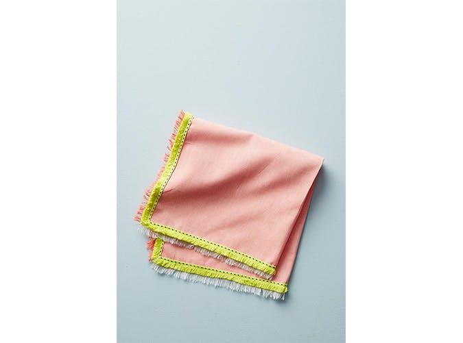 peach fringe napkin