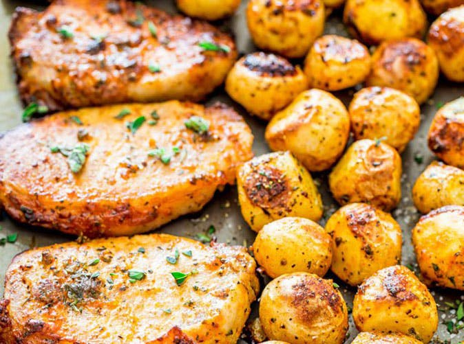 ranch pork chops and potatoes sheet pan dinner 501