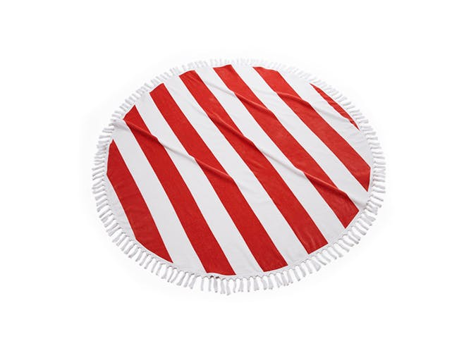 red and white round towel slideshow USE