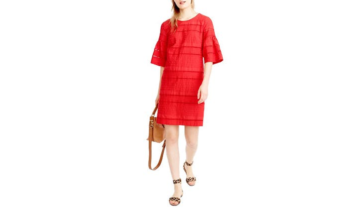 red eyelet dress