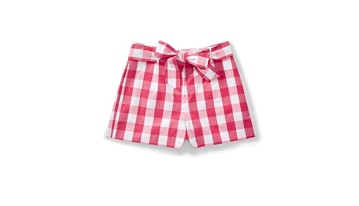 red gingham tie shorts