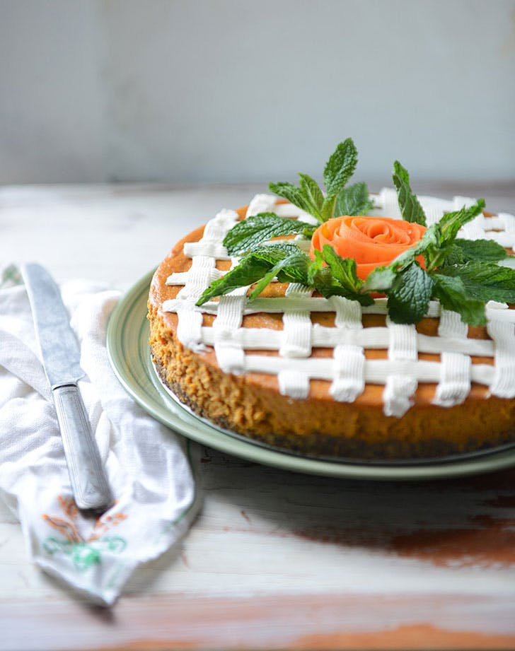 roasted carrot cheesecake by with the grains