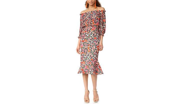 saloni off the shoulder dress