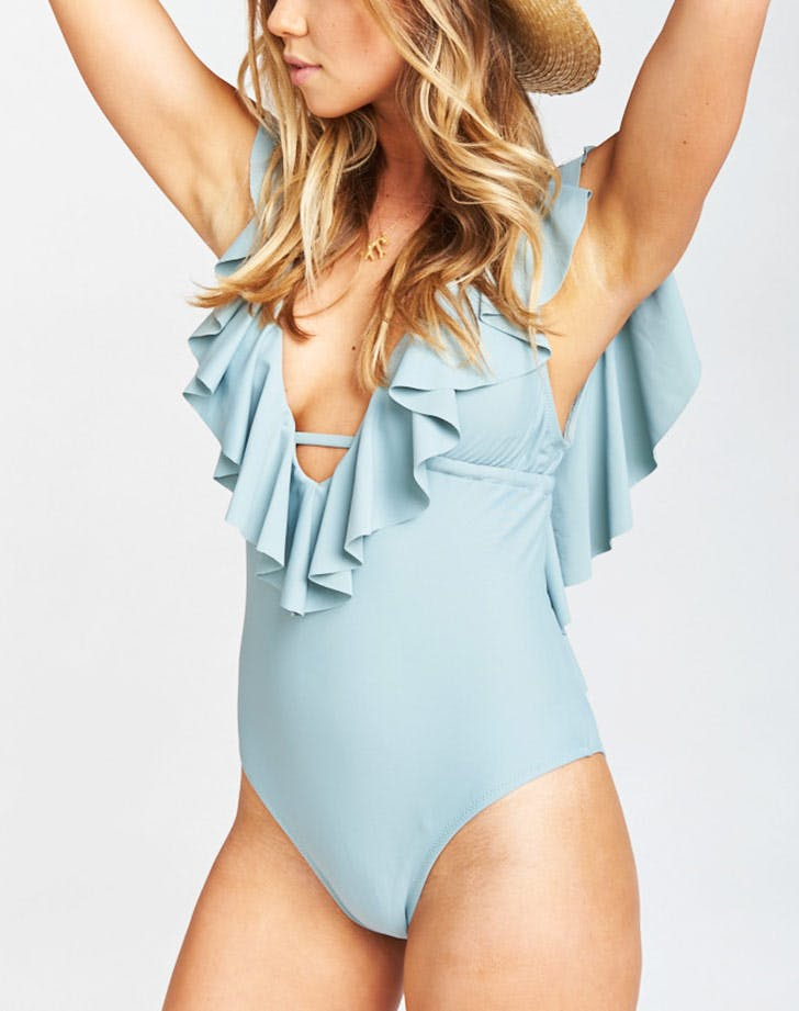 show me your mumu ruffle one piece swimsuit NY