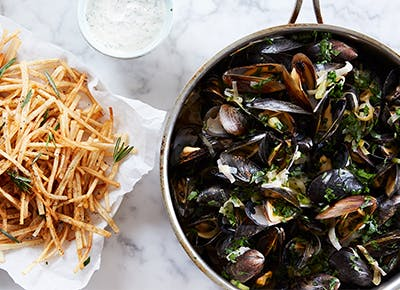 skillet mussels fries recipes CAT