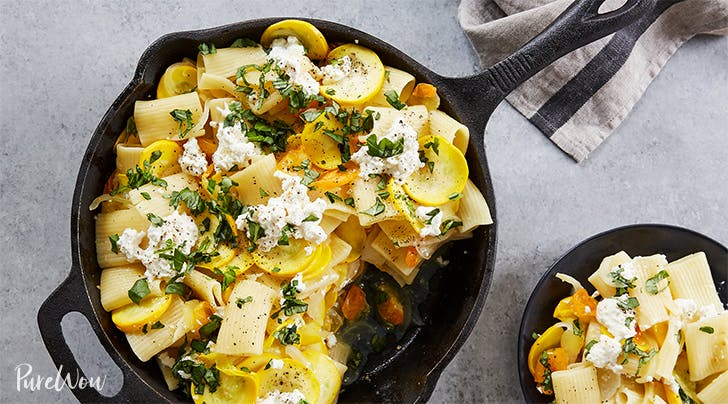 Skillet Pasta with Summer Squash, Ricotta and Basil