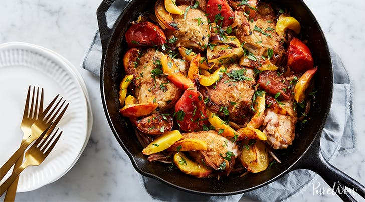 Skillet Roast Chicken with Peaches, Tomatoes and Red Onion