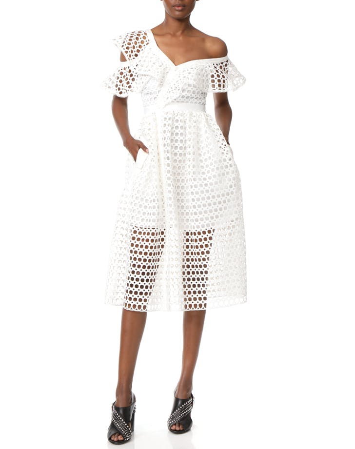 white dress eyelet midid