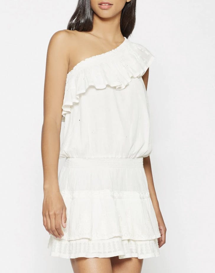 white dress one shoulder