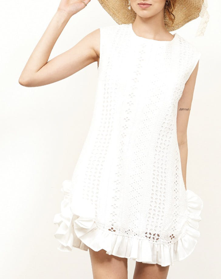 white dress ruffle