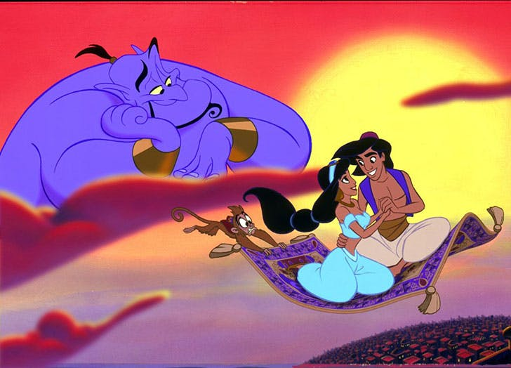 Aladdin and Jasmine on their magic carpet
