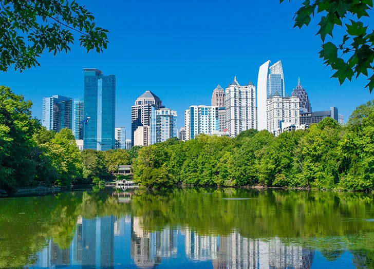 Atlanta Skyline Reflection in Piedmont Park