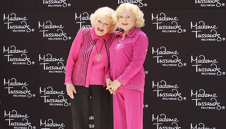 Betty White Posing with Wax Figure