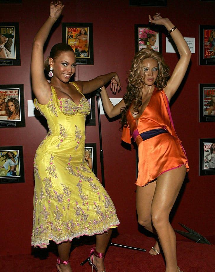 Beyonce Posing with Wax Figure