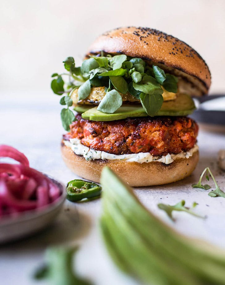 Blackened Salmon Burgers with Herbed Cream Cheese 1
