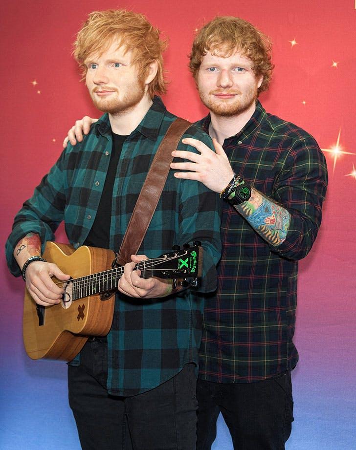 Ed Sheeran Posing with Wax Figure