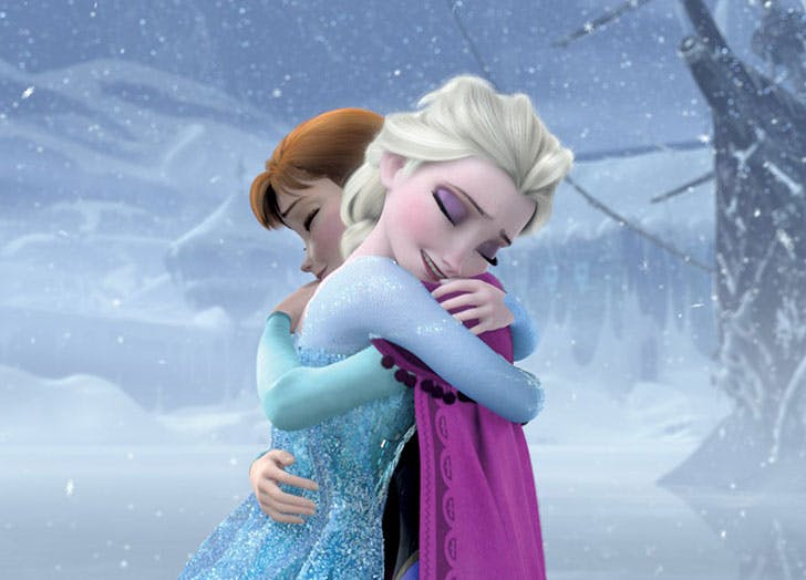 Elsa and Anna from Frozen hugging