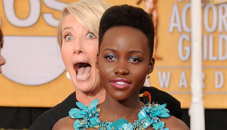 Emma Thompson Lupita Photobomb