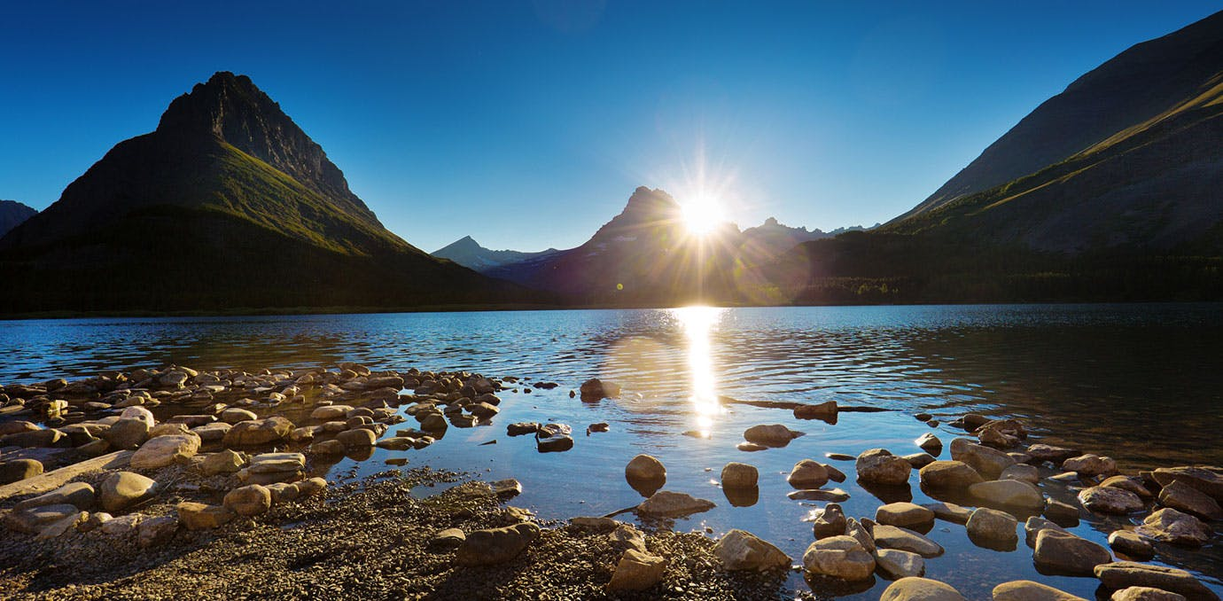 Glacier National Park  Montana  sunset
