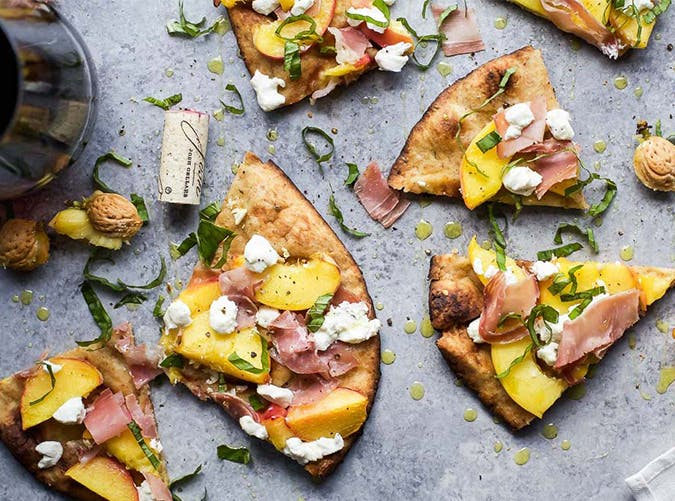 Grilled Flatbread Pizza with Peaches  Prosciutto  Goat Cheese and Basil