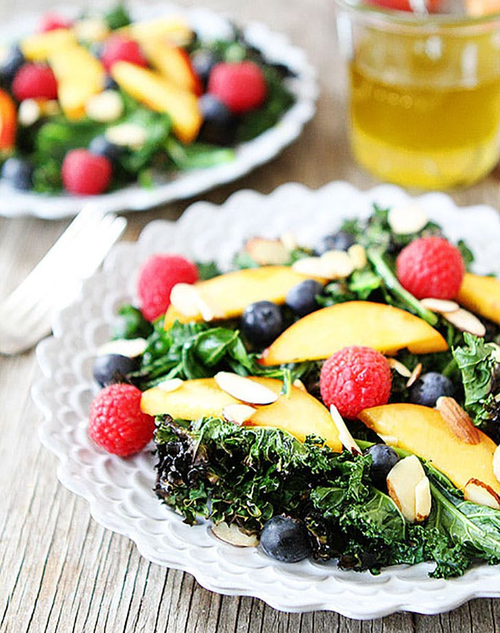 Grilled Kale Salad with Berries Nectarines 7