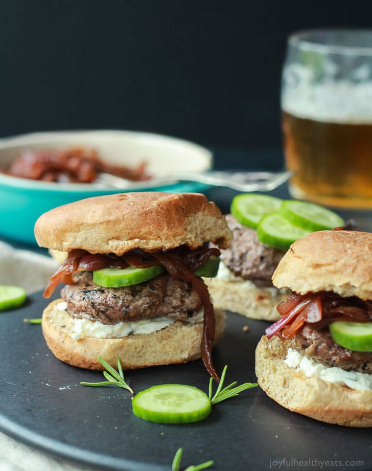 Grilled Lamb Burgers with Whipped Feta and Cucumber 2